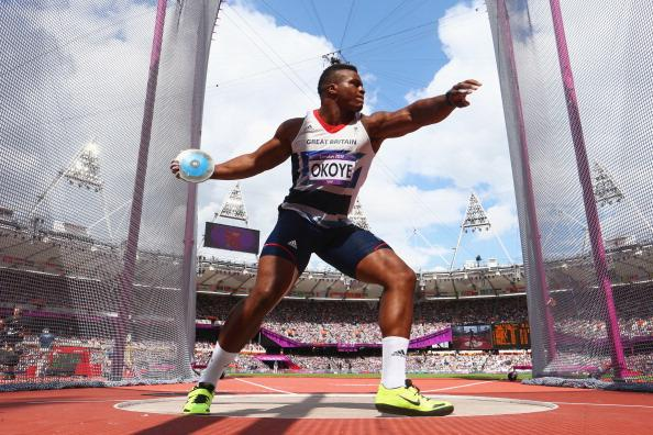 Lawrence Okoye of Great Britain competes in the Men's Discus Throw qualification 5on Day 10 of the London 2012 Olympic Games at the Olympic Stadium on August 6, 2012 in London, England. (Photo by Michael Steele/Getty Images)