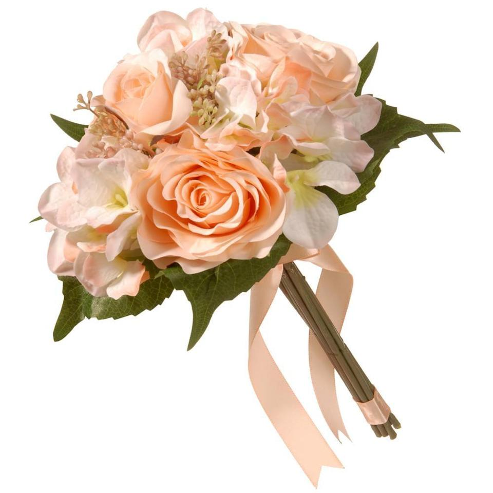 """<p>The <a href=""""https://www.popsugar.com/buy/National-Tree-Company-Mixed-Peach-Rose-Hydrangea-Bouquet-444311?p_name=National%20Tree%20Company%27s%20%20Mixed%20Peach%20Rose%20and%20Hydrangea%20Bouquet&retailer=homedepot.com&pid=444311&price=12&evar1=casa%3Aus&evar9=46127505&evar98=https%3A%2F%2Fwww.popsugar.com%2Fhome%2Fphoto-gallery%2F46127505%2Fimage%2F46128490%2FNational-Tree-Company-Mixed-Peach-Rose-Hydrangea-Bouquet&list1=shopping%2Cgift%20guide%2Cflowers%2Chouse%20plants%2Cplants%2Cmothers%20day%2Cgifts%20for%20women&prop13=api&pdata=1"""" class=""""link rapid-noclick-resp"""" rel=""""nofollow noopener"""" target=""""_blank"""" data-ylk=""""slk:National Tree Company's Mixed Peach Rose and Hydrangea Bouquet"""">National Tree Company's Mixed Peach Rose and Hydrangea Bouquet</a> ($12) comes with an adorable bow to make your gift that much cuter.</p>"""