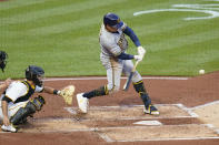 Milwaukee Brewers' Avisail Garcia hits a double to drive in two runs against the Pittsburgh Pirates in the second inning of a baseball game Tuesday, July 27, 2021, in Pittsburgh. (AP Photo/Keith Srakocic)