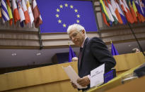 European Union foreign policy chief Josep Borrell prepares to make his address during a debate, regarding his recent trip to Russia, during a plenary session at the European Parliament in Brussels, Tuesday, Feb. 9, 2021. (Olivier Hoslet, Pool via AP)