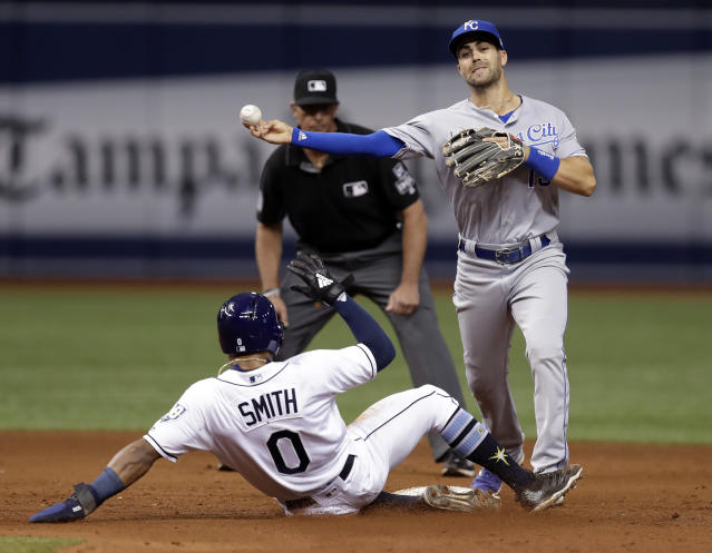 Kansas City Royals second baseman Whit Merrifield forces Tampa Bay Rays' Mallex Smith (0) at second base and turns a double play on Matt Duffy during the fifth inning of a baseball game Monday, Aug. 20, 2018, in St. Petersburg, Fla. (AP Photo/Chris O'Meara)