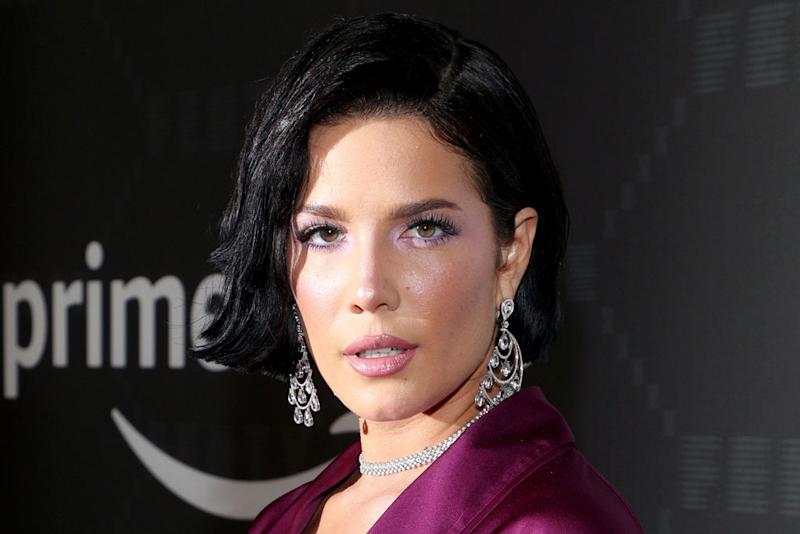 Halsey Pairs a Purple Pajama Set With Crystal-Covered