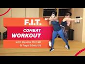 """<ul><li><strong>Equipment: </strong>None</li></ul><p>Faye Edwards' signature style of exercise is a challenging combat-based workout that'll have you pushed to your limits. Fortunately, former WH cover star Davina McCall is there to struggle with you. That makes it a bit better, eh? </p><p><a href=""""https://www.youtube.com/watch?v=O7SDD0k5f48&ab_channel=Women%27sHealthUK"""" rel=""""nofollow noopener"""" target=""""_blank"""" data-ylk=""""slk:See the original post on Youtube"""" class=""""link rapid-noclick-resp"""">See the original post on Youtube</a></p>"""