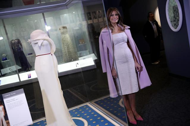 Melania Trump donated her Hervé Pierre inaugural gown to the Smithsonian Institution. (Photo: Getty Images)