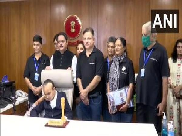 Visuals of 11-years old girl made collector for a day in Ahmedabad (Photo/ANI)