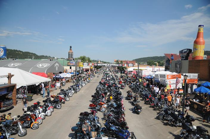 August 5, 2015: Motorcycles stretch down Main Street in Sturgis, S.D., for the landmark Sturgis Motorcycle Rally. / Credit: James Nord / AP