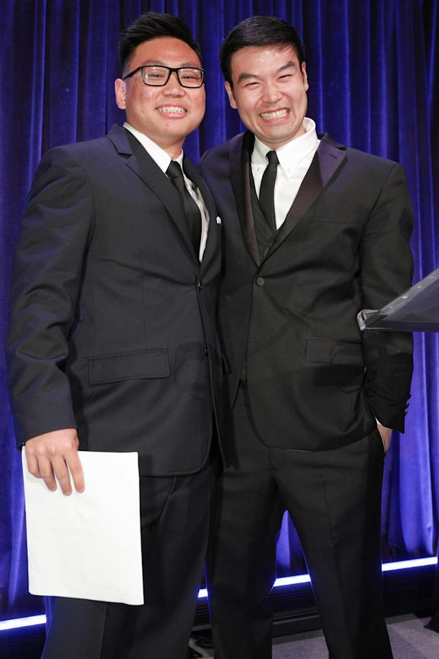 <p>Michael Lee, right, executive director of Apex for Youth, is shown with the event's student speaker, Sean Park. (Photo: BFA/courtesy of Apex for Youth) </p>
