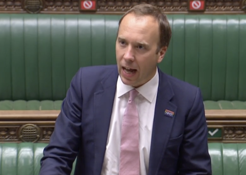 Matt Hancock said the coronavirus testing issues will take 'weeks' to solve. (Parliamentlive.tv)