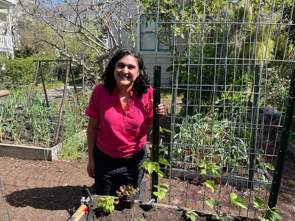 It can be helpful to try to grow some plants like tomatoes vertically, alongside poles, stakes or a trellis, so they don't take up a lot of horizontal space. (Samin Nosrat)