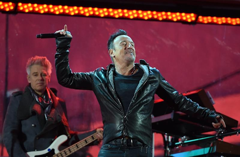 """Bruce Springsteen, pictured performing on December 1, 2014, plans a nine-week North American tour in which he will play his classic 1980 album """"The River"""" in its entirety along with other hits (AFP Photo/Timothy A. Clary)"""