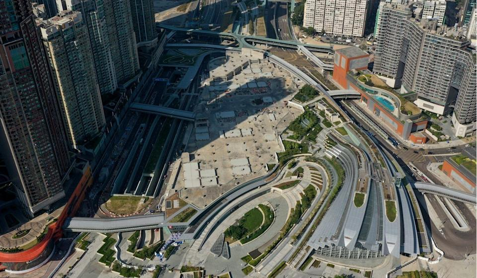 The plot of land atop the West Kowloon high-speed railway station is equivalent to 47 Olympic-sized swimming pools. Photo: Winson Wong