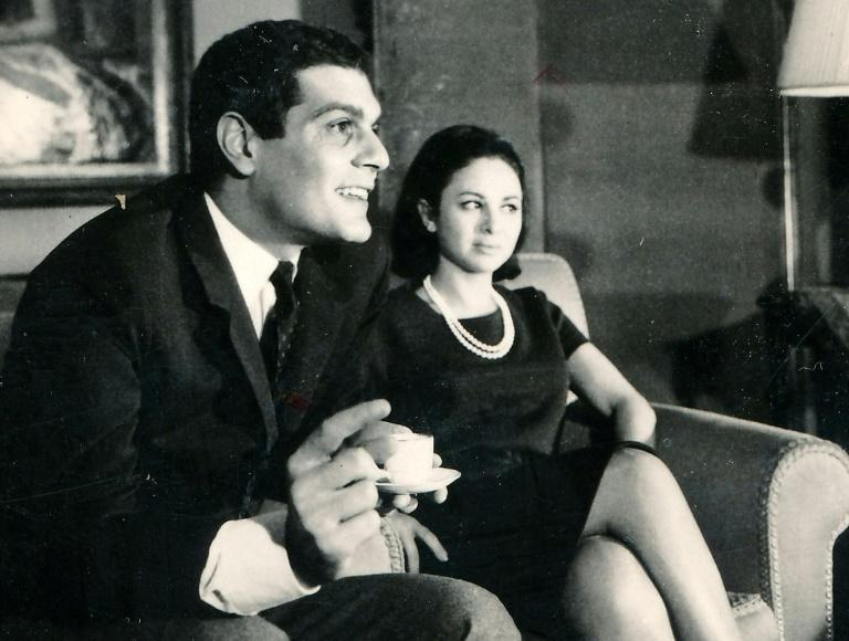 Egyptian actress Faten Hamama (R) and her husband, Egyptian-born actor Omar Sharif, in Cairo in a 1966 picture made available by the Middle East News Agency