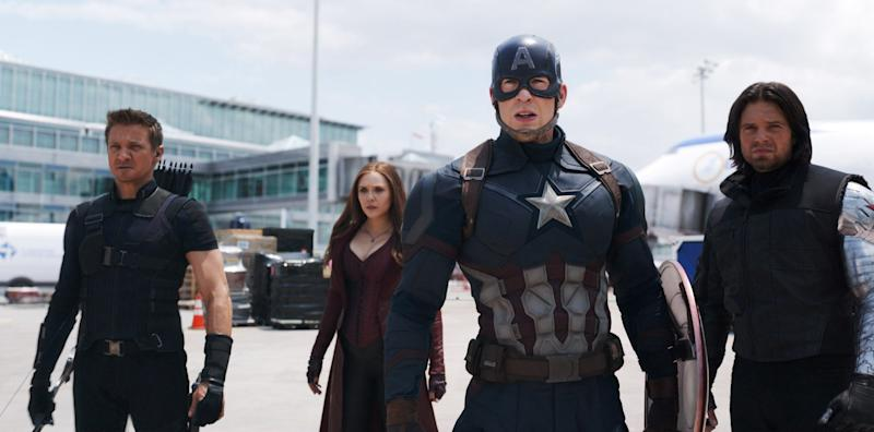 CAPTAIN AMERICA: CIVIL WAR, from left: Jeremy Renner, as Hawkeye, Elizabeth Olsen, as Scarlet Witch, Chris Evans, as Captain America, Sebastian Stan, as Winter Soldier, 2016. / Walt Disney Studios Motion Pictures / Courtesy Everett Collection