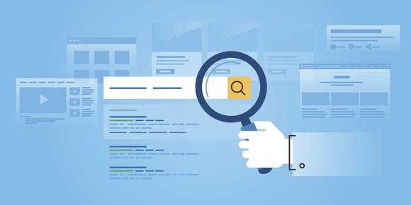 An illustration of a hand holding a magnifying glass looking at a search bar in a web browser.