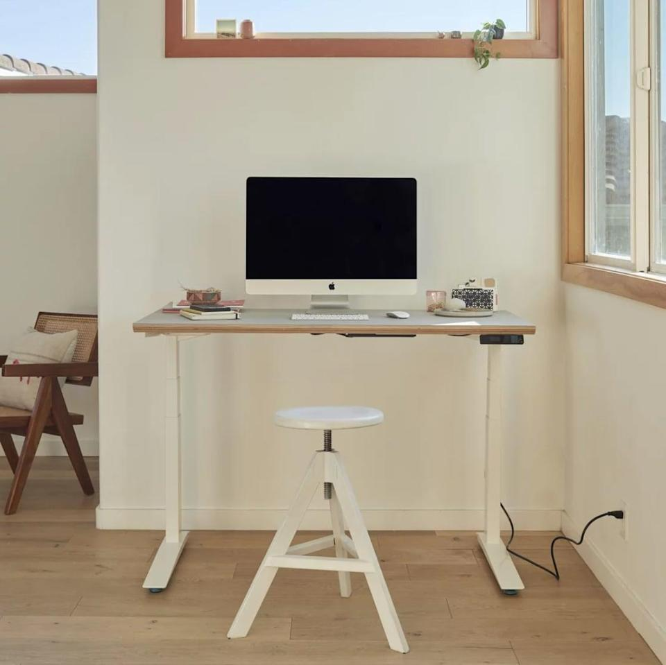 """<p>""""I live in a small apartment and am very picky about decorating and keeping it as minimal as possible. Adding an eyesore of a desk wasn't high on my priority list. Then I found my match, the stylish <span>Floyd x Fully Standing Desk</span> ($790-$820, originally $865-$895).""""</p> <p>""""This isn't my first piece of Floyd furniture. I'm a long-time fan of the brand's cool aesthetic and functional designs, which is what made this such an easy choice. It feels comfortable to sit at, and the OLED touch handset is easy to move up and down, plus it has four presets, making it simple to adjust. Floyd's signature birchwood block is what truly makes it chic. The beautiful finish and curved edges feel modern and versatile. I can easily say it's one of the best pieces in my home."""" - KJ </p> <p>If you want to read more, here is the <a href=""""https://www.popsugar.com/home/floyd-standing-desk-editor-review-48076837"""" class=""""link rapid-noclick-resp"""" rel=""""nofollow noopener"""" target=""""_blank"""" data-ylk=""""slk:Floyd x Fully Standing Desk"""">Floyd x Fully Standing Desk </a> review.</p>"""