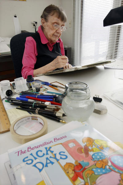 FILE - In this Jan. 25, 2011 file photo, Jan Berenstain works on art for a Berenstain Bears book in Solebury, Pa. Jan Berenstain, who with her husband Stan created the Berenstain Bears books that have charmed preschoolers and their parents for 50 years, has died. Her son Mike Berenstain said she died Feb. 24, 2012.  She was 88. (AP Photo/Mel Evans)