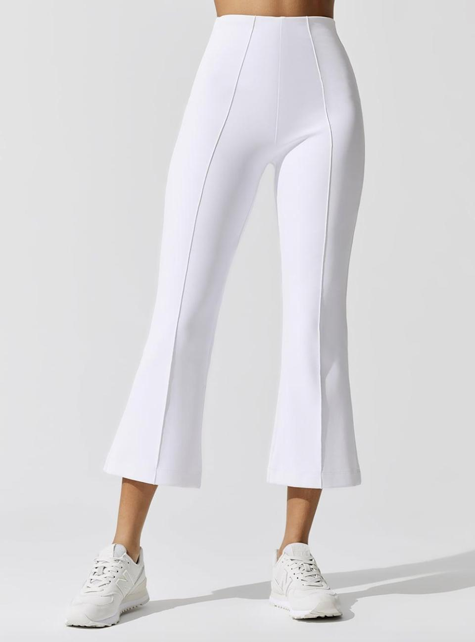 <p>These cute cropped trousers can take you from yoga to brunch. The <span>Carbon38 Ona Kick Flare Pants</span> ($195) come in black or white.</p>