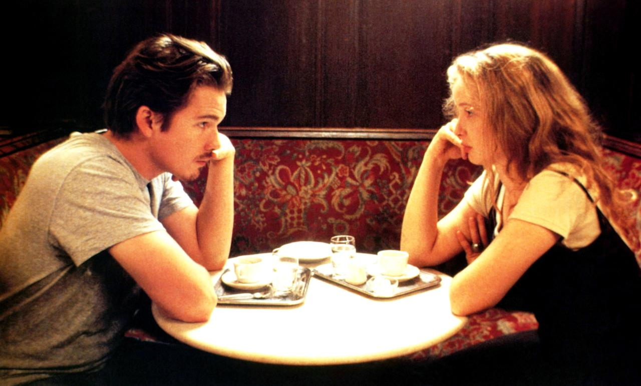 """<p>Maybe it's the sunny, hazy palette of this film or the fact that it takes place over an exhilarating 24 hours, but <em>Before Sunrise</em> will wear you out—in the best way possible. Maybe you'll dream about meeting a handsome stranger on a train who convinces you to ditch your plans and hang for the day. What's better than that?</p> <p><em>Available to rent on</em> <a href=""""https://www.amazon.com/gp/video/detail/B001NA6096/ref=atv_dl_rdr""""><em>Amazon Prime Video</em></a><em>.</em></p>"""