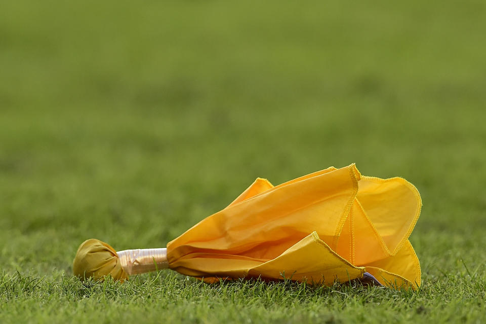 LANDOVER, MD - DECEMBER 22: A penalty flag on the field in the first half during a game between the New York Giants and Washington Redskins at FedExField on December 22, 2019 in Landover, Maryland. (Photo by Patrick McDermott/Getty Images)