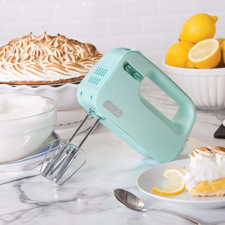 """Easily whip your creams, mix your doughs and meringue your egg whites with this hand mixer without causing a whole two-act-with-intermission production like its larger counterparts.This beater has three speeds, and storage is a cinch — you can unhook the beaters and pop them on a storage clip on the side of the mixer, then slide it right back into a drawer.<br /><br /><strong>Promising review:</strong>""""I needed to get a new hand mixer after I lost one of the whisk parts on my super old one.<strong>I live in a pretty small house, with limited storage so I wanted something that wasn't going to take up too much space.</strong>I also wanted a solution to the lone whisk that I seemed to always lose. This was it! I<strong>t is cute but also I love that the whisks attach to the body and the cord can be easily wrapped around it. I use it a lot and haven't had a problem in almost a year.</strong>I do wish that it had more speeds on it, but besides that I have no complaints."""" —<a href=""""https://www.amazon.com/gp/customer-reviews/R3C8TYDG8OKPO5?ASIN=B074M8DYQF&ie=UTF8&linkCode=ll2&tag=huffpost-bfsyndication-20&linkId=31e8bbb78a220a881bb52b41b52786f2&language=en_US&ref_=as_li_ss_tl"""" target=""""_blank"""" rel=""""noopener noreferrer"""">Amazon Customer</a><br /><br /><strong>Get it from Amazon for<a href=""""https://www.amazon.com/SHM01DSBU-Electric-Whipping-Brownies-Meringues/dp/B074M8DYQF?&linkCode=ll1&tag=huffpost-bfsyndication-20&linkId=26832df23ff1aa50aea92744f7b6dac8&language=en_US&ref_=as_li_ss_tl"""" target=""""_blank"""" rel=""""noopener noreferrer"""">$19.99</a>(available four colors).</strong>"""