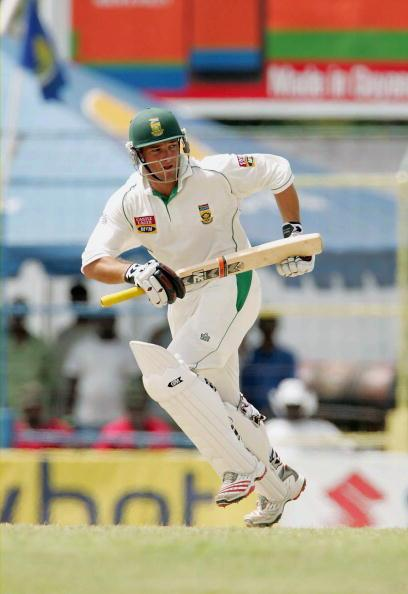 GUYANA, WEST INDIES - APRIL 3: Mark Boucher of South Africa hits out during day four of the first Test match between West Indies and South Africa on April 3, 2005 in Guyana, West Indies. (Photo by Touchline/Getty Images)
