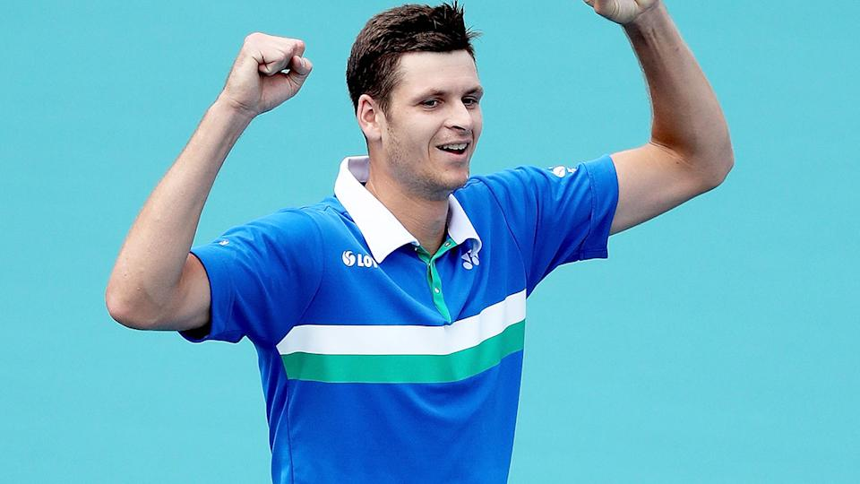 Hubert Hurkacz, pictured here after beating Jannik Sinner to win the Miami Open title.