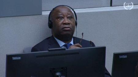 Former Ivory Coast's President Laurent Gbagbo attends his trial on charges of unleashing a civil war, in The Hague