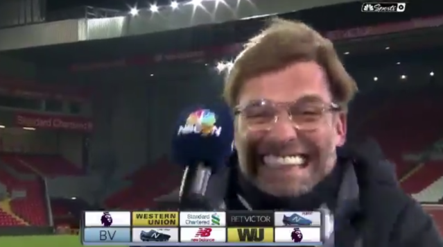 Jurgen Klopp during his interview with NBC Sports Network after Liverpool's win over Manchester City. (Screenshot: NBCSN)