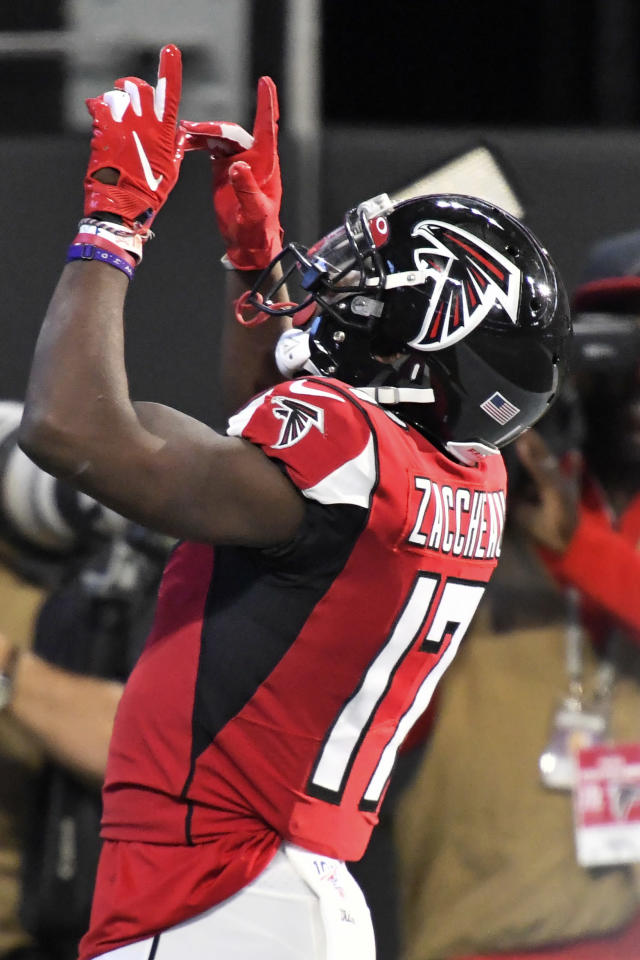 Atlanta Falcons wide receiver Olamide Zaccheaus (17) celebrates his touchdown against the Carolina Panthers during the second half of an NFL football game, Sunday, Dec. 8, 2019, in Atlanta. (AP Photo/Danny Karnik)