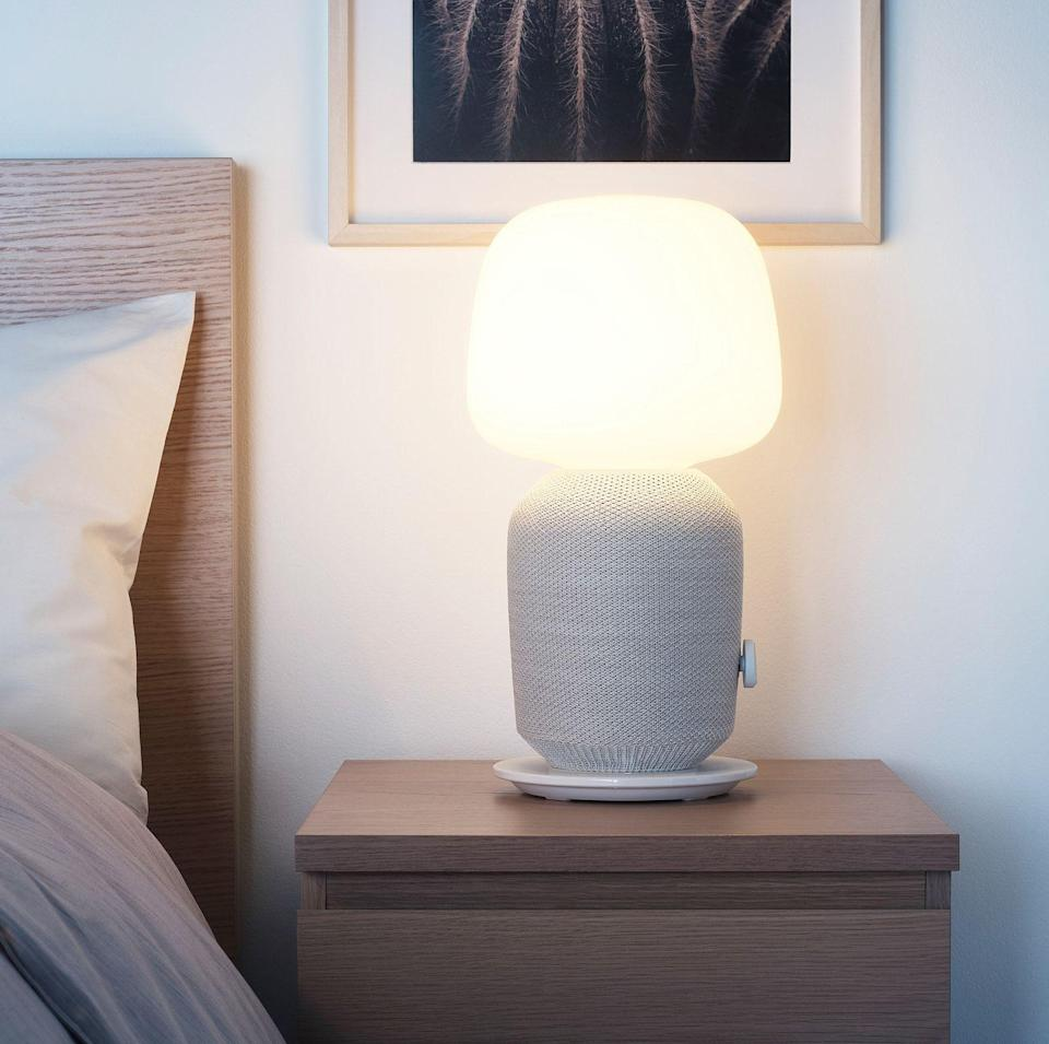"""<p><strong>IKEA</strong></p><p>ikea.com</p><p><strong>$189.00</strong></p><p><a href=""""https://go.redirectingat.com?id=74968X1596630&url=https%3A%2F%2Fwww.ikea.com%2Fus%2Fen%2Fp%2Fsymfonisk-table-lamp-with-wifi-speaker-white-80464618%2F&sref=https%3A%2F%2Fwww.bestproducts.com%2Ftech%2Felectronics%2Fg34374775%2Fbest-sonos-speaker%2F"""" rel=""""nofollow noopener"""" target=""""_blank"""" data-ylk=""""slk:Shop Now"""" class=""""link rapid-noclick-resp"""">Shop Now</a></p><p>This hybrid gadget is the result of a collaboration between IKEA and Sonos. The SYMFONISK is a speaker and lamp all in one single package. It'll help you save space, add some extra ambiance, and fill your entire room with sound. </p><p>As you'd expect from an IKEA product, it has a modern design on the outside, but on the inside, it's all Sonos. It integrates with other products from Sonos and delivers a rich, vibrant sound.</p><p>It's worth mentioning that the bulb on the lamp isn't powerful enough to light a full room. Instead, it's designed to be used for accent lighting. The product doesn't have a microphone or support for Alexa, or Google Assistant, either. Regardless, it's a unique speaker unlike anything else we've seen.</p>"""