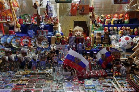 A woman sells souvenirs at Kremlin in Nizhny Novgorod, Russia, June 30, 2018. REUTERS/Damir Sagolj