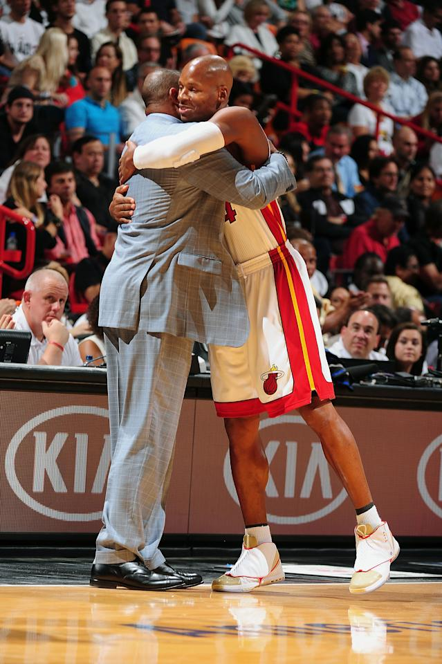 MIAMI, FL - OCTOBER 30: Ray Allen #34 of the Miami Heat hugs Head Coach Doc Rivers of the Boston Celtics prior to the NBA game on October 30, 2012 at American Airlines Arena in Miami, Florida. NOTE TO USER: User expressly acknowledges and agrees that, by downloading and/or using this Photograph, user is consenting to the terms and conditions of the Getty Images License Agreement. Mandatory Copyright Notice: Copyright 2012 NBAE (Photo by Garrett W. Ellwood/NBAE via Getty Images)