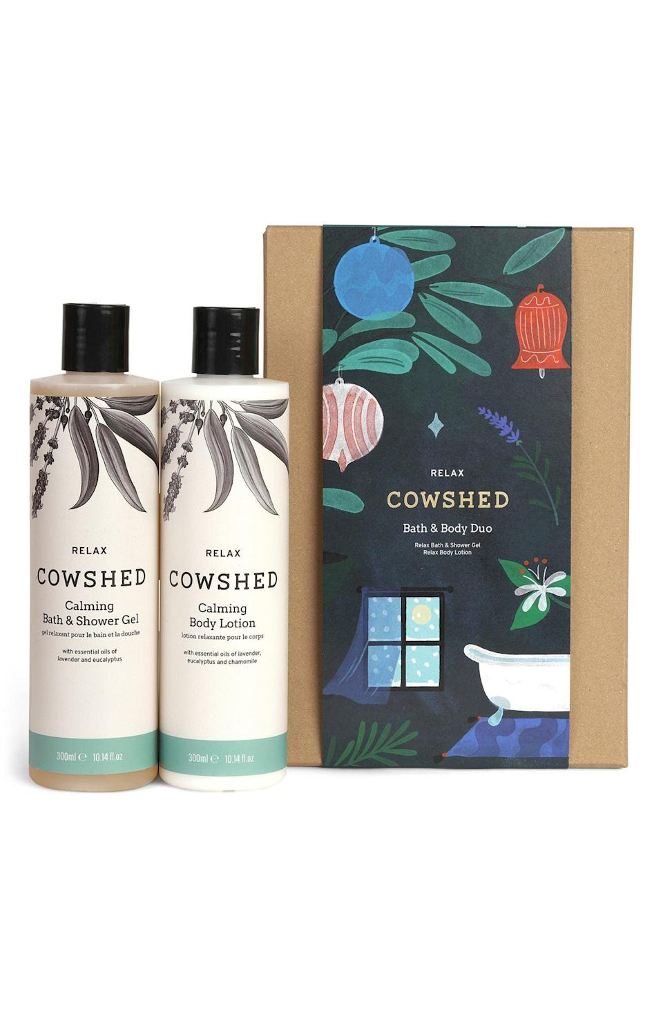 <p><span>Cowshed Relax Full Size Bath &amp; Body Set</span> ($36, originally $52)</p>