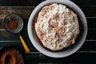 """Dark chocolate and ripe plums make a sweet match in this luscious dessert. It's topped with unsweetened whipped cream and a dusting of cocoa powder. <a href=""""https://www.epicurious.com/recipes/food/views/chocolate-plum-cake-56390135?mbid=synd_yahoo_rss"""" rel=""""nofollow noopener"""" target=""""_blank"""" data-ylk=""""slk:See recipe."""" class=""""link rapid-noclick-resp"""">See recipe.</a>"""