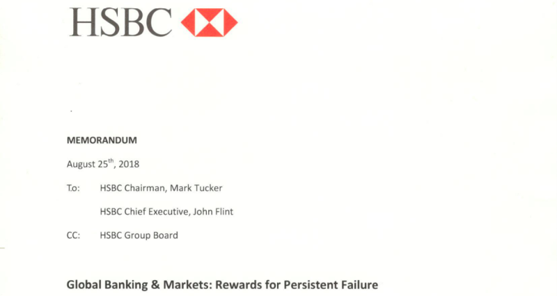 HSBC global banking and markets memo to CEO
