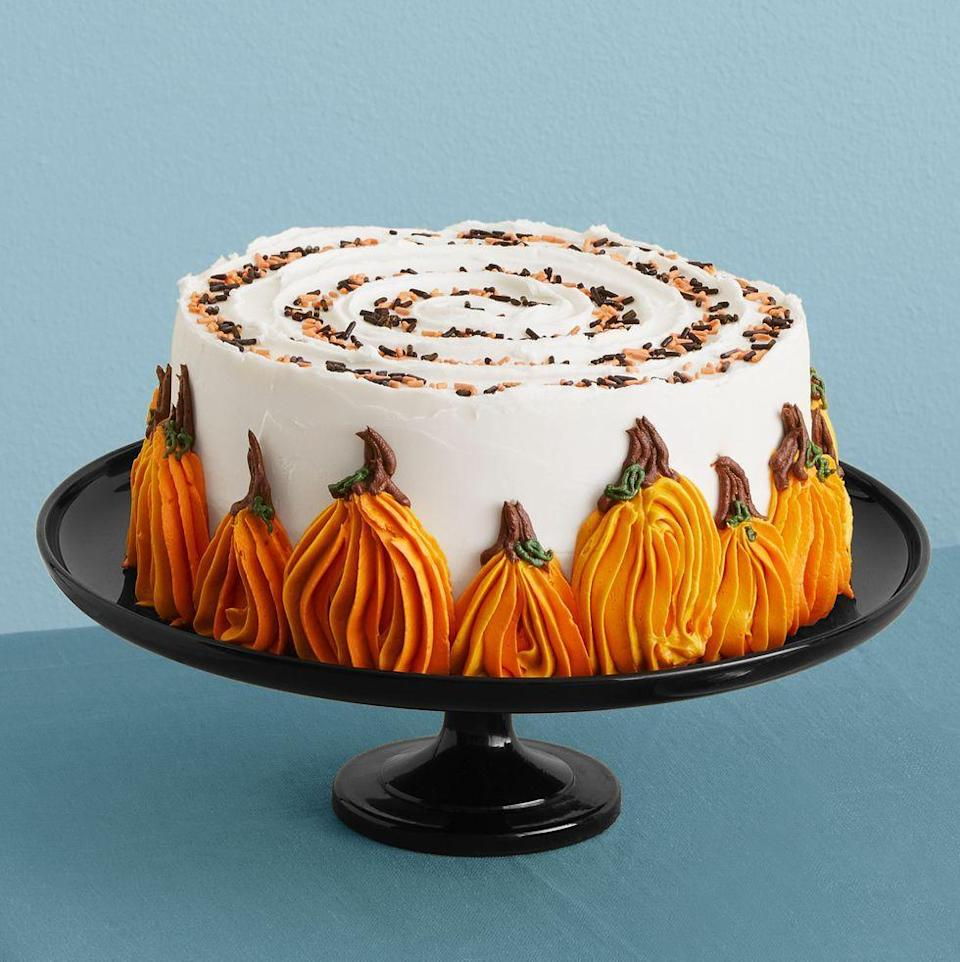 """<p>This spiced pumpkin cake is studded with chocolate chips — and covered in cream cheese frosting.</p><p><em><a href=""""https://www.womansday.com/food-recipes/a33564114/pumpkin-chocolate-chip-cake-recioe/"""" rel=""""nofollow noopener"""" target=""""_blank"""" data-ylk=""""slk:Get the recipe from Woman's Day »"""" class=""""link rapid-noclick-resp"""">Get the recipe from Woman's Day »</a></em></p>"""