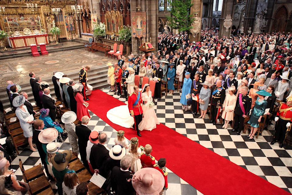 Kate Middleton and Prince William at Westminster Abbey at their wedding in 2011