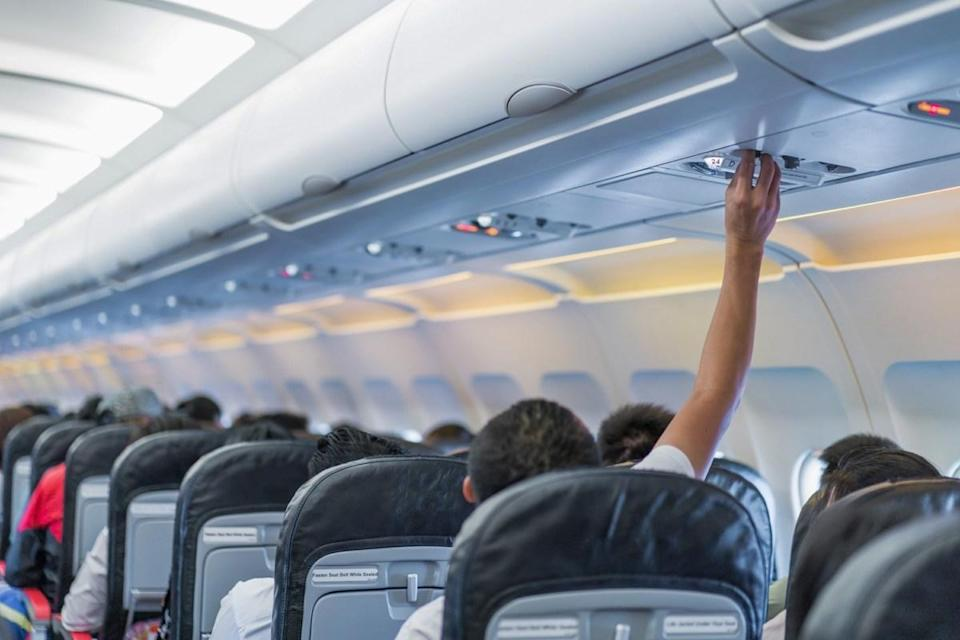 """If you're wondering where the most germ-besotted places on an airplane are located, Patel suggests thinking of places that are often touched, but rarely cleaned. One example? The overhead air vents. Of course, cabins get stuffy, so there have probably been a lot of hands on that nozzle. In fact, in 2015, when the folks at <a href=""""https://www.travelmath.com/feature/airline-hygiene-exposed/"""" rel=""""nofollow noopener"""" target=""""_blank"""" data-ylk=""""slk:Travel Math"""" class=""""link rapid-noclick-resp"""">Travel Math</a> conducted an investigation into the cleanliness of airplanes, they found that overhead air vents contain 285 colony-forming units (CFU) of bacteria per square inch."""