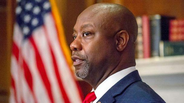 PHOTO: Sen. Tim Scott meets with Judge Amy Coney Barrett on Capitol Hill in Washington, Sept. 30, 2020. (Bonnie Cash/Pool via AP)
