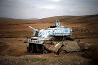 An old tank can be seen near the Israeli settlement of Misho Edumim, in the occupied West Bank December 24, 2016. REUTERS/Amir Cohen