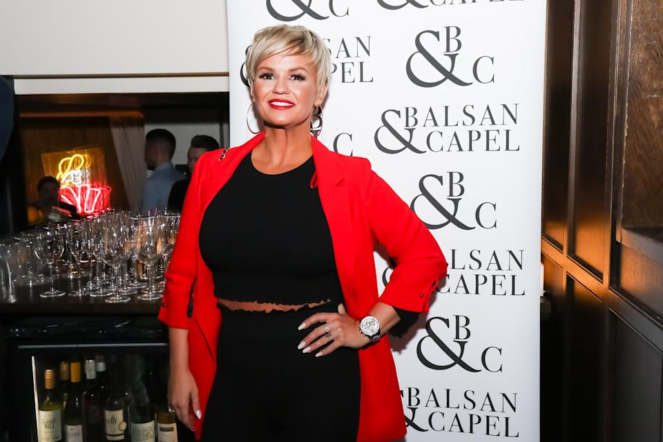 MANCHESTER, ENGLAND - NOVEMBER 23: Kerry Katona attends the Balsan and Chapel menswear preview at Neighborhood At The Avenue on November 23, 2017 in Manchester, England. (Photo by carla speight/Getty Images)