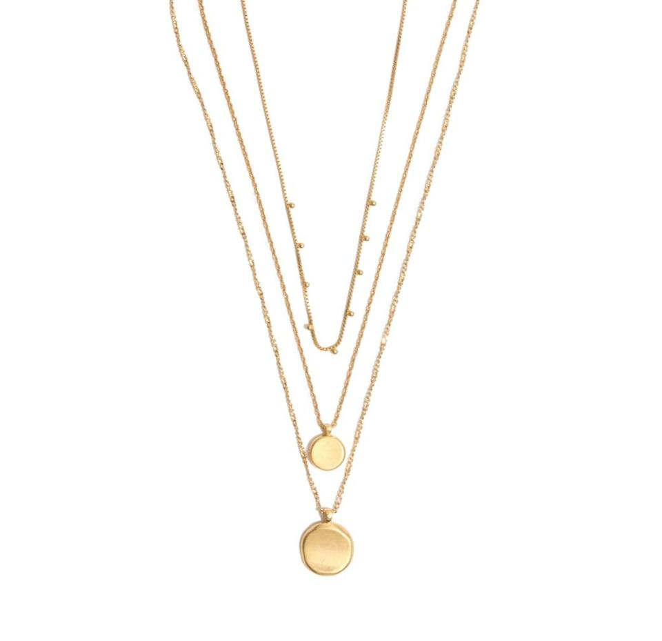 <p>Why settle for one necklace when you can enjoy a few? Accessorize your fave V-neck top with this <span>Madewell Coin Layered Necklace</span> ($48).</p>