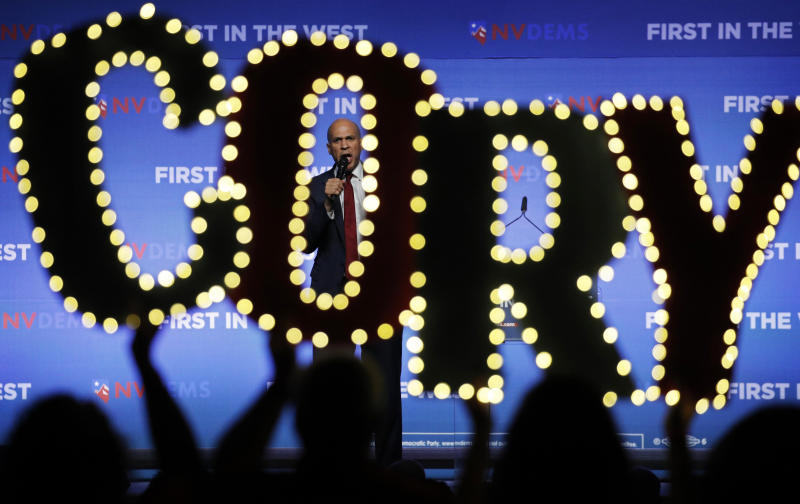 Democratic presidential candidate Sen. Cory Booker, D-N.J., speaks during a fundraiser for the Nevada Democratic Party, Sunday, Nov. 17, 2019, in Las Vegas. (AP Photo/John Locher)