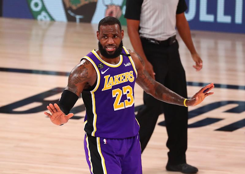 Los Angeles Lakers forward LeBron James reacts during the fourth quarter of Game 5 against the Denver Nuggets.