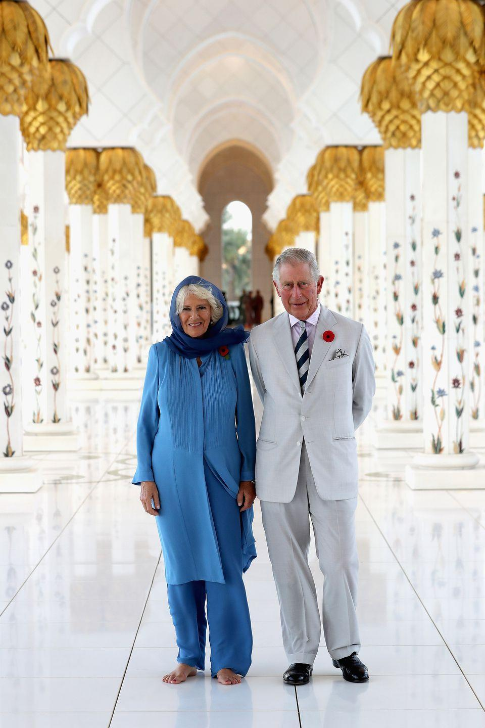 <p>Visiting the Grand Mosque on their first day of a Royal tour of the United Arab Emirates.</p>