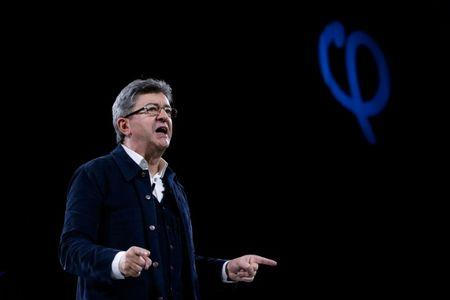 Jean-Luc Melenchon of the French far left Parti de Gauche and candidate for the 2017 French presidential election delivers a speech as he holds a political rally in Rennes