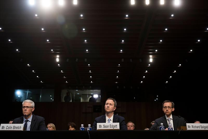 Colin Stretch, general counsel at Facebook, Sean Edgett, acting general counsel at Twitter, and Richard Salgado, director of law enforcement and information security at Google, testify during a Senate Judiciary Subcommittee on Crime and Terrorism hearing.