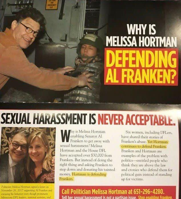 A mailer by the GOP-aligned group Minnesota Jobs Coalition went after a Minnesota lawmaker for supporting Al Franken. (Photo: HuffPost)