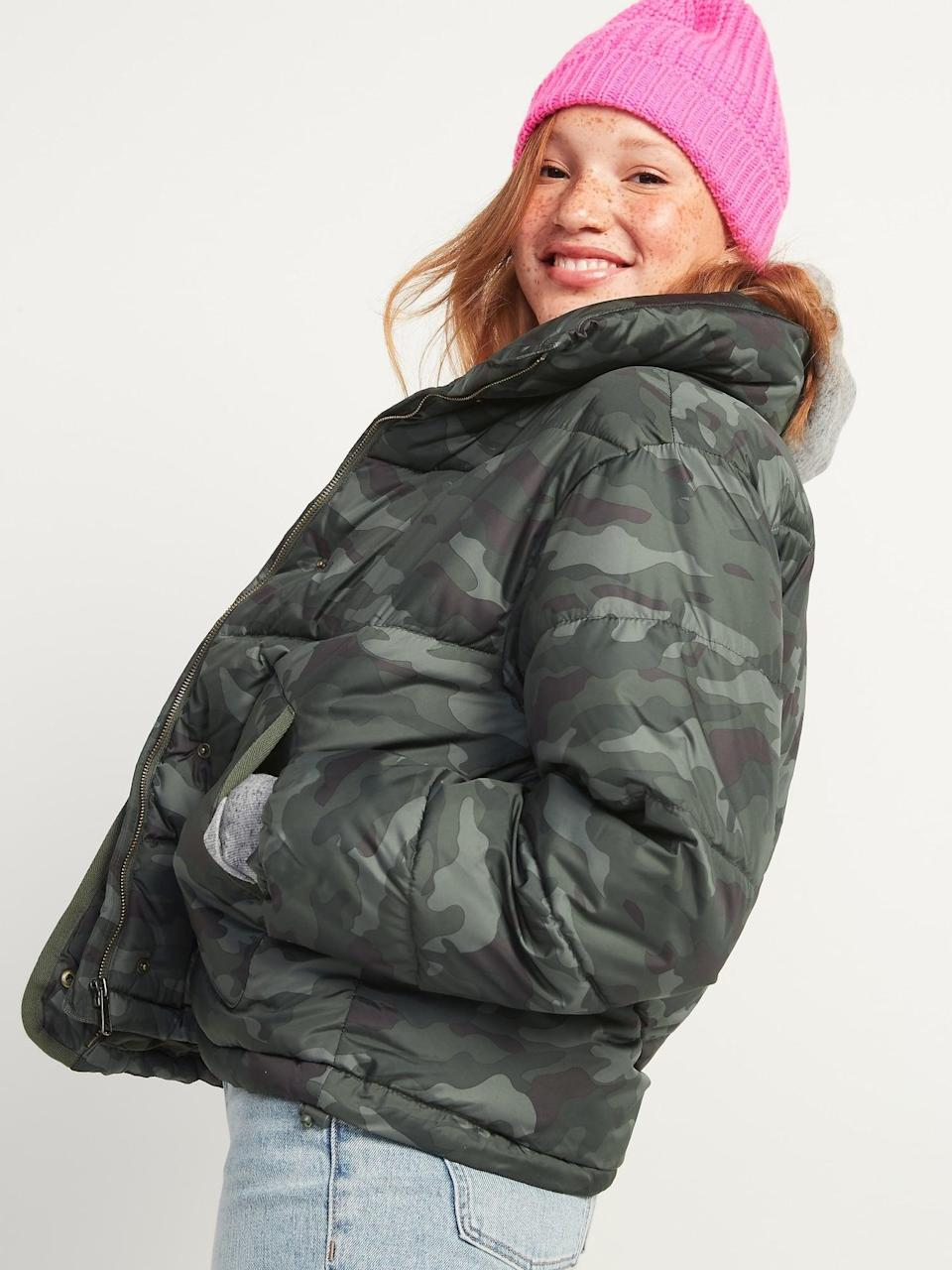 <p>This <span>Camo Quilted Utility Puffer Jacket</span> ($60) looks so cozy we could sleep in it!</p>