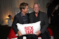 Rob Lowe and Producer Steve Tisch seen at Columbia Pictures 'Sex Tape' World Premiere held at Regency Village Theatre, on Thursday, July 10, 2014, in Westwood, Calif. (Photo by Eric Charbonneau/Invision for Sony Pictures/AP Images)